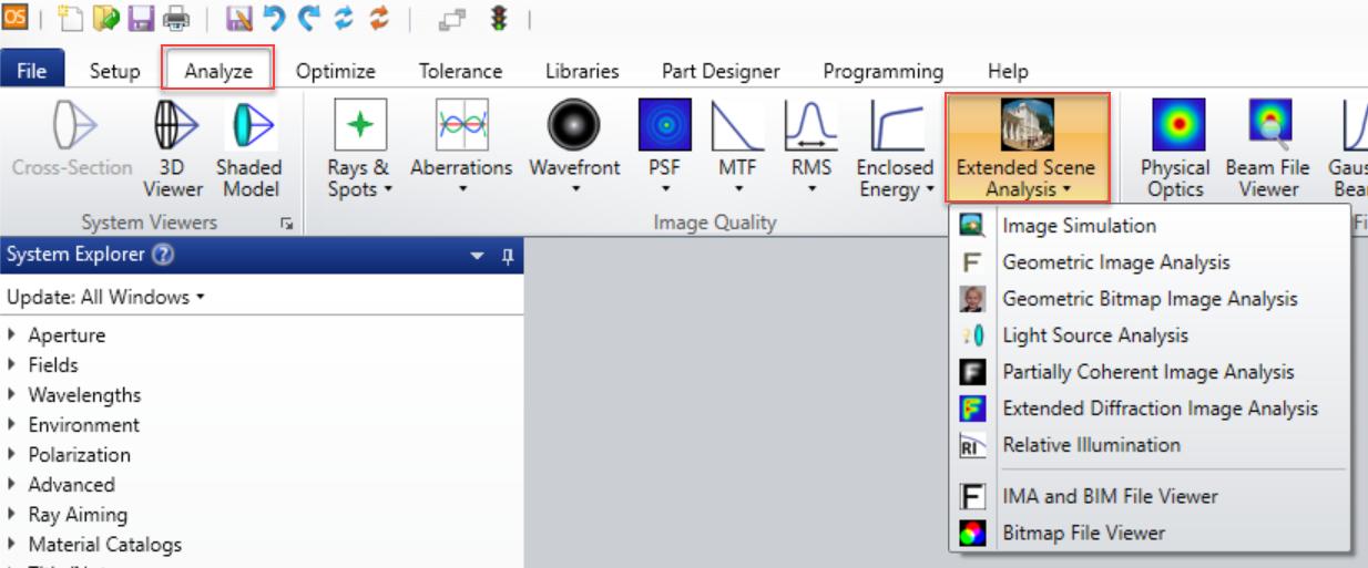 Image Simulation menu