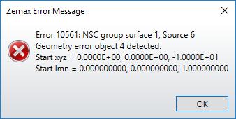 Geometry error message