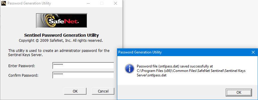 sentinel password generation utility