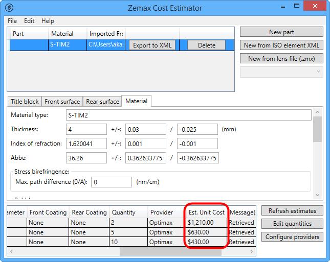 Cost Estimator From Tolerance Tab