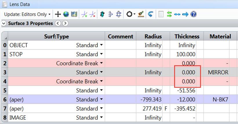 setup in lens data editor