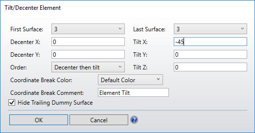 Tilt Decenter element