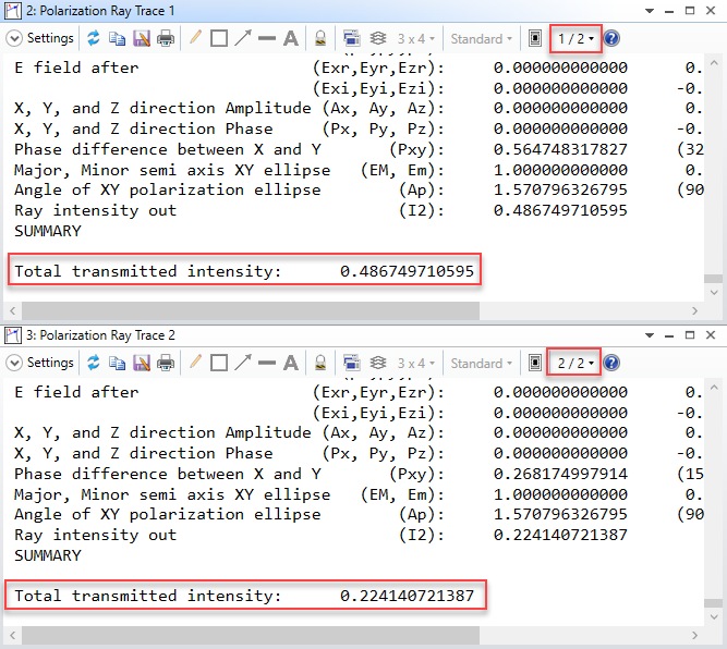 Polarization Ray Trace_transmission intensity