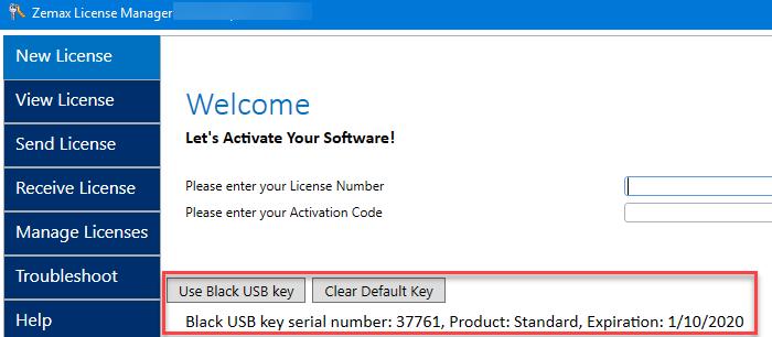 Black USB license in June 2019 License Manager