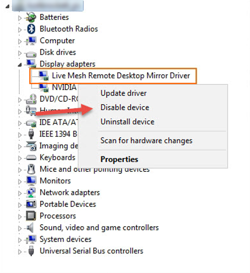 Mesh remote desktop mirror driver
